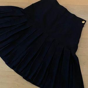 🌹CHANEL Black Silk Pleated Mini Skirt F 36 / US 4